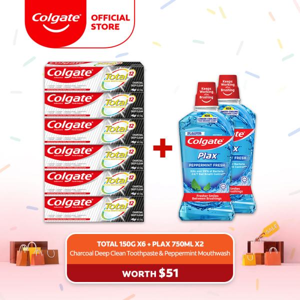 Buy [4.4 Just 4 U] Colgate Total Charcoal Deep Clean Toothpaste Valuepack 150g [Bundle of 6] + 2 Colgate Plax Peppermint 750ml Mouthwash (CN06840A-6 + FOC 1525375-2) Singapore