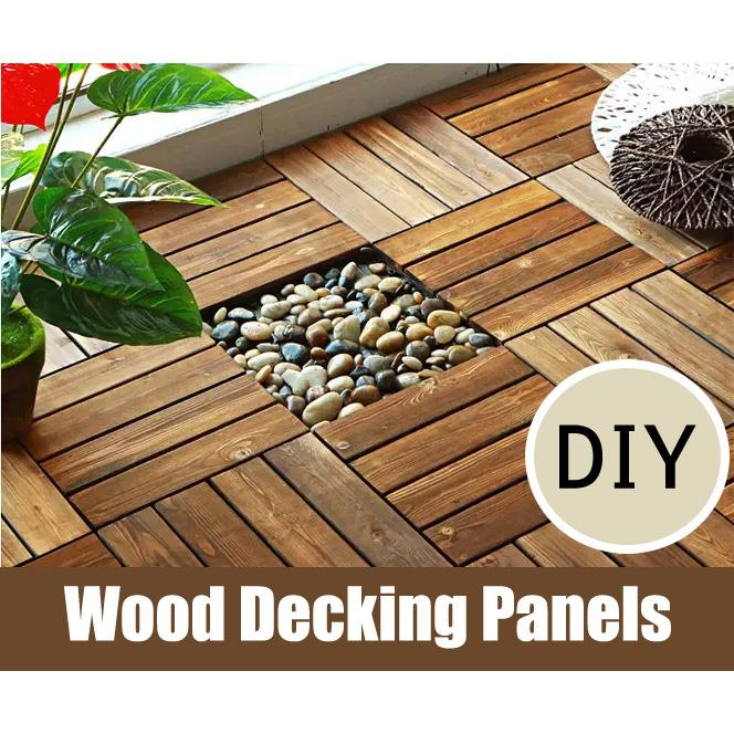 10pcs REAL Wood decking panels floor tiles DIY flooring wooden slab