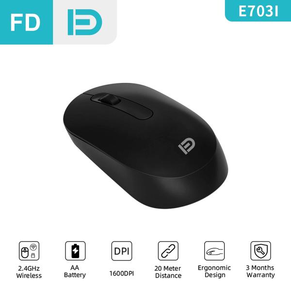 FD E703i Wireless Mouse, 2.4G USB, 1600DPI, Office Mouse Basic Mice, For PC Laptop Notebook