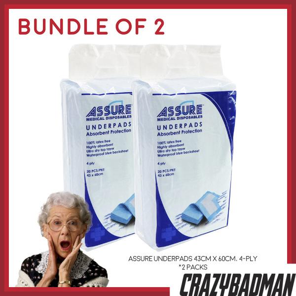 Buy [Bundle of 2] ASSURE Underpads 43cm x 60cm, 4-Ply (20pcs/pack) Singapore