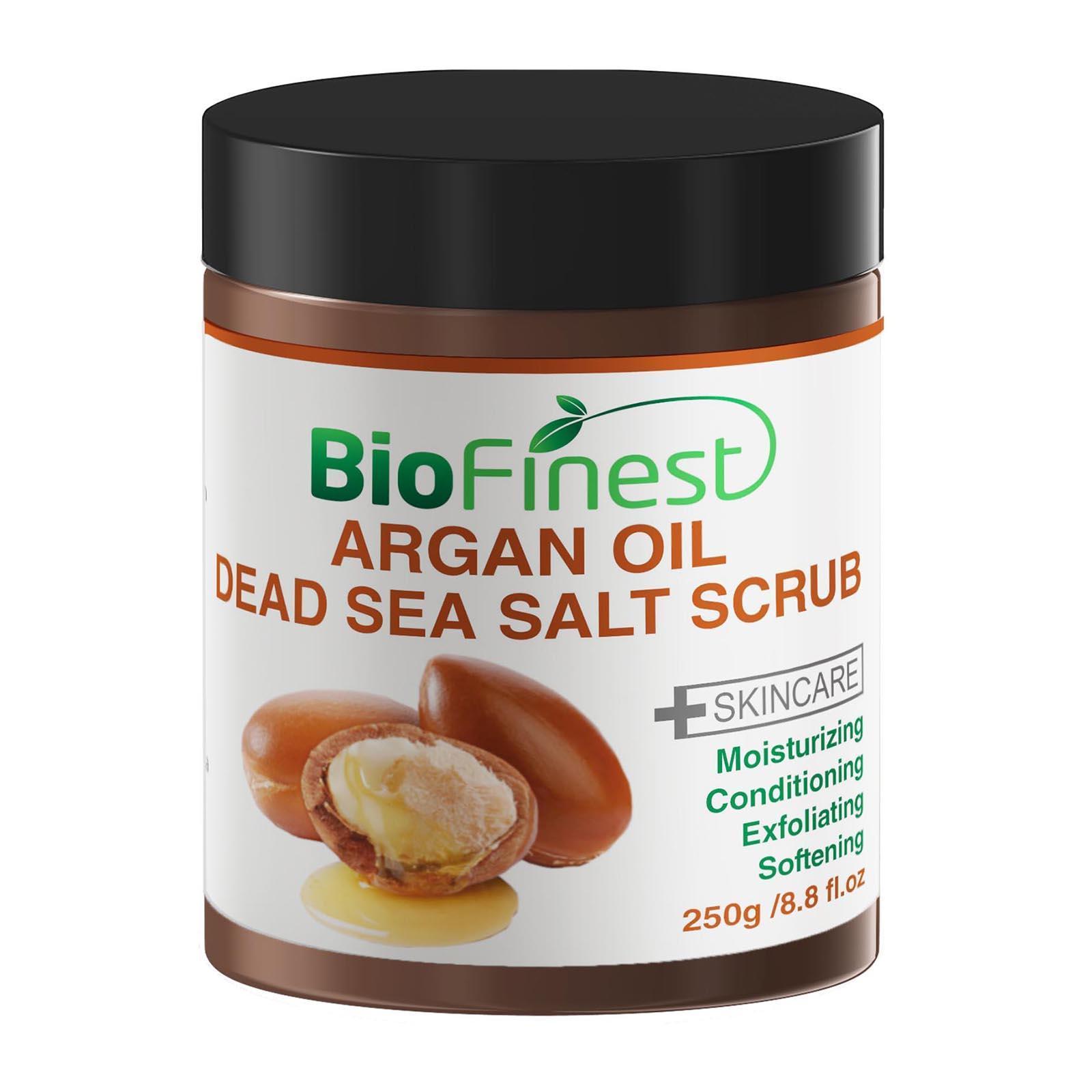 Biofinest Argan Oil Dead Sea Salt Scrub: With Aloe Vera Almond Oil Vitamin E Essential Oils Face Scrub