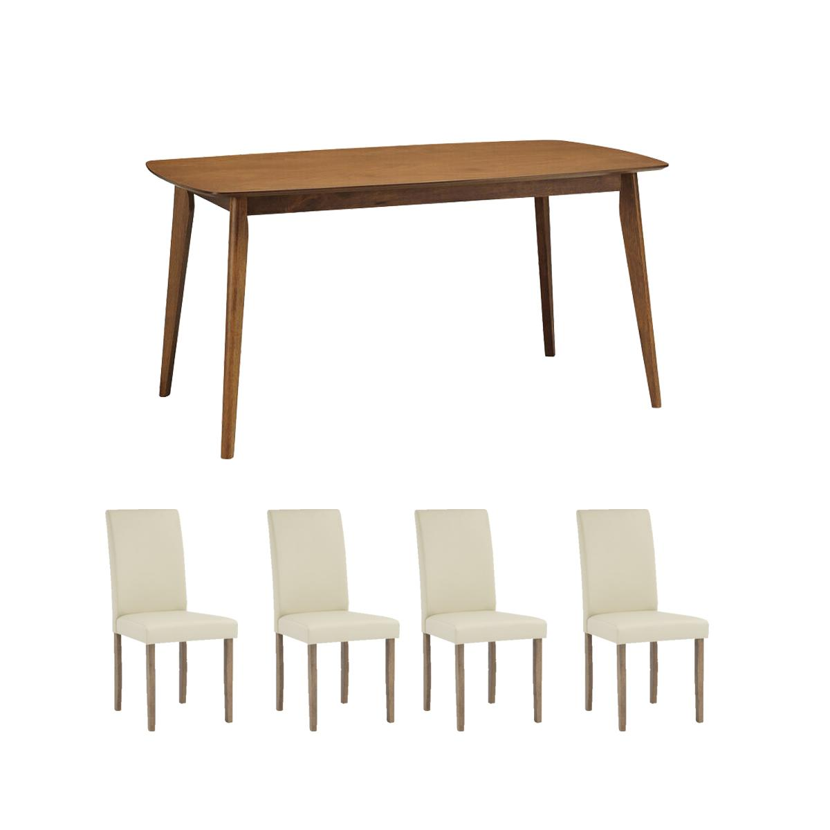 Solid Wood Dining Table + 4 Dining Chair. Quality Dining Set