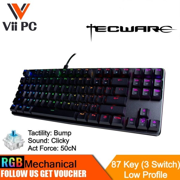 Tecware Phantom L, Low Profile RGB Mechanical Keyboard 87-Key (3 Switch Options)