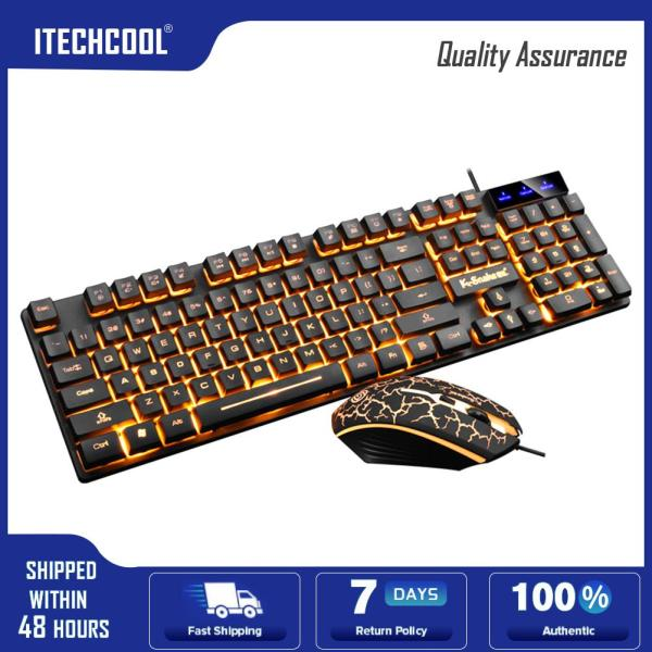 KM320 Keyboard Mouse Combo USB Wired Mechanical Feeling Gaming Office Mice Set Computer Accessories Singapore