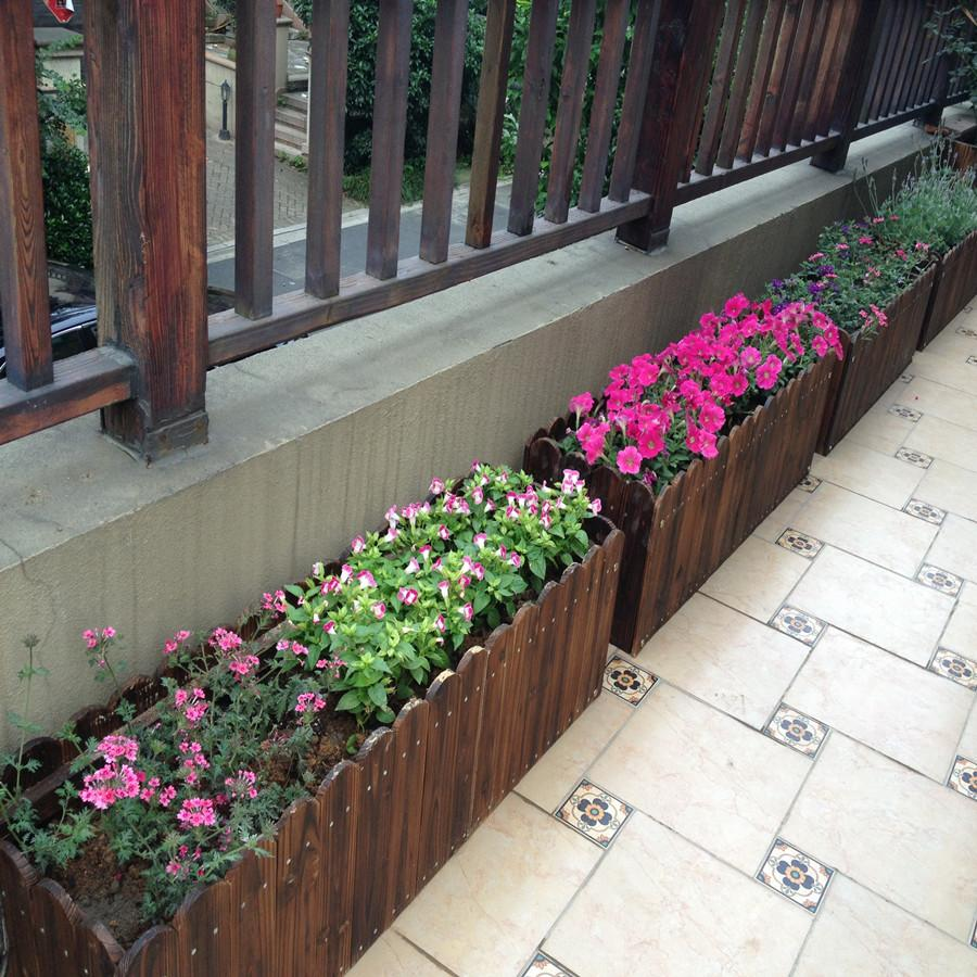 Outdoor Snnei Terrace/Patio Green Vegetation Potted Plant Solid Wood Flower Box Wood Preservative Flower Box Rectangular Pergola Planter Wooden Flower Basket