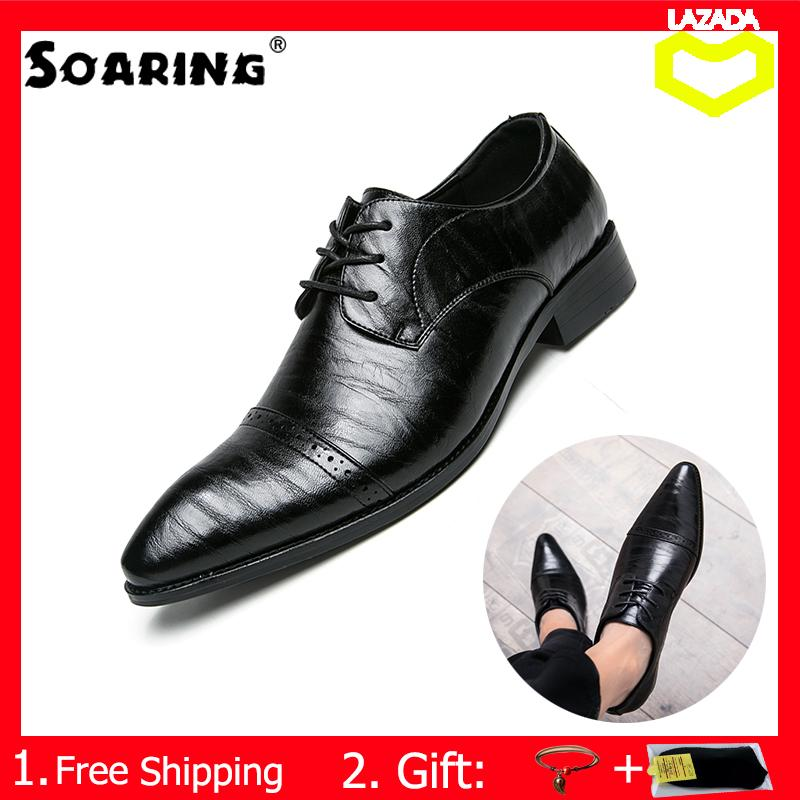 d574271cb Soaring New 2018 Fashion Men Dress Shoes Leather Lace-Up Pointed Toe Office  Oxford Shoes