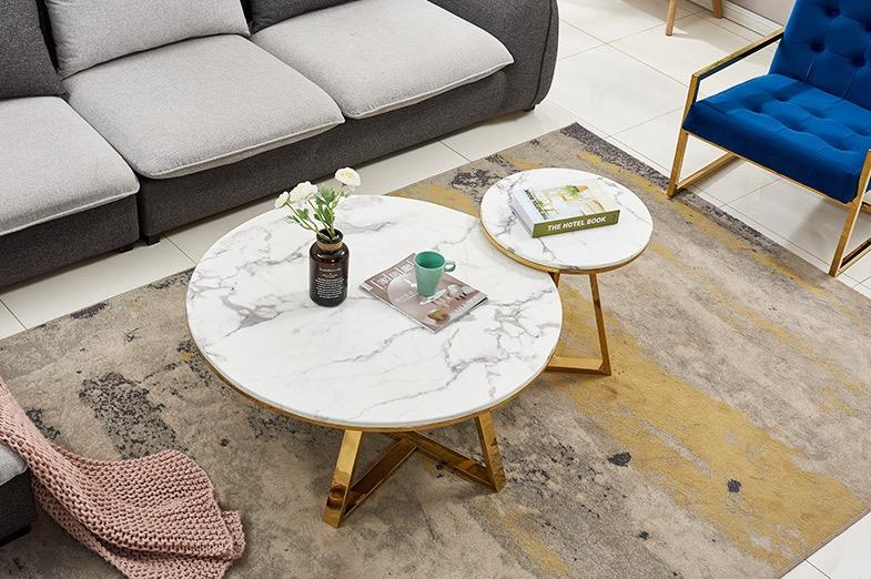 Nordic Marble Design with Shiny Gold Base Coffee Table