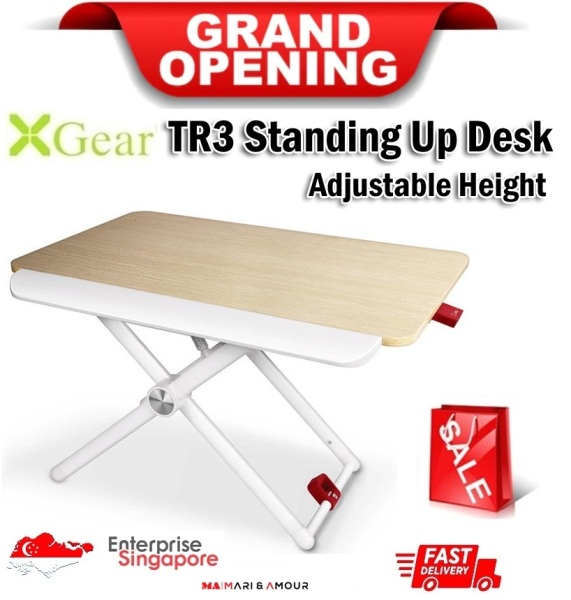 ★ Xgear TR3 Adjustable Height Laptop Desk, Foldable Laptop Standing Desk, Ergonomic Office Stand-up Stand, Multipurpose Reading Holder, Ergonomic Workstation Standing ★ SG Ready Stock★