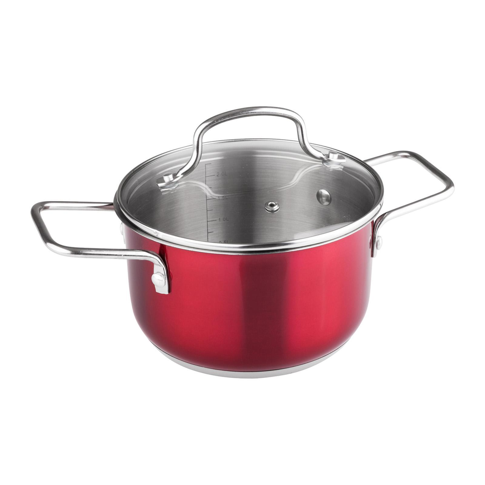 Lamart Stainless Steel Pot With Glass Lid 18X10.5Cm Red