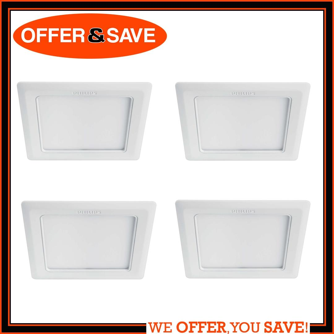 [Bundle of 4] Philips Essential Downlight Marcasite Square LED 12W Warm White 3000k