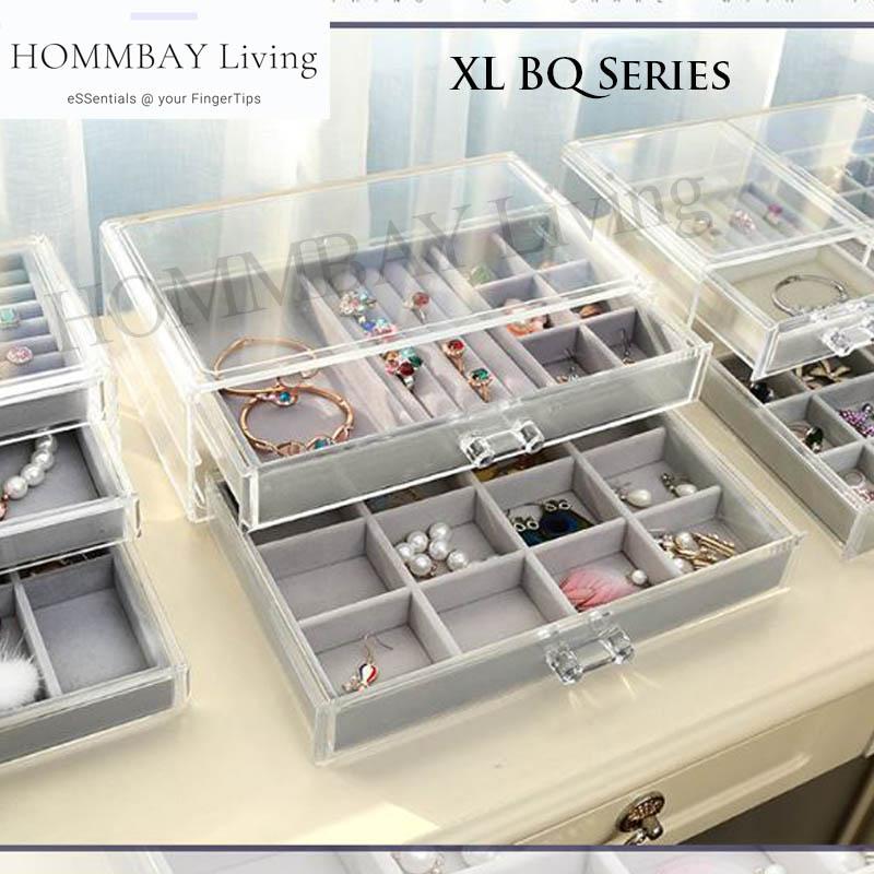 I Xl Bq Series I Makeup Make Up Acrylic Clear Transparent Lipstick Cosmetic Brush Brushes Jewellery Jewelry Earrings Bracelets Rings Organiser Organizer Drawer Storage Box Holder I Extra Large I B Series I Stackable I Bq 35 + Bqlt 1 + Bqlt 2.