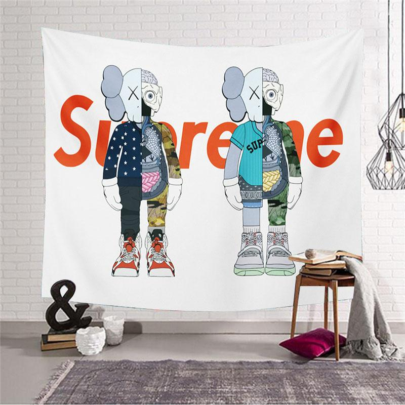 Popular Brand Kaws Wall Decoration Cloth Background Cloth Live Wall Tapestry Tablecloth Partition Bedside Bedroom Curtain INS