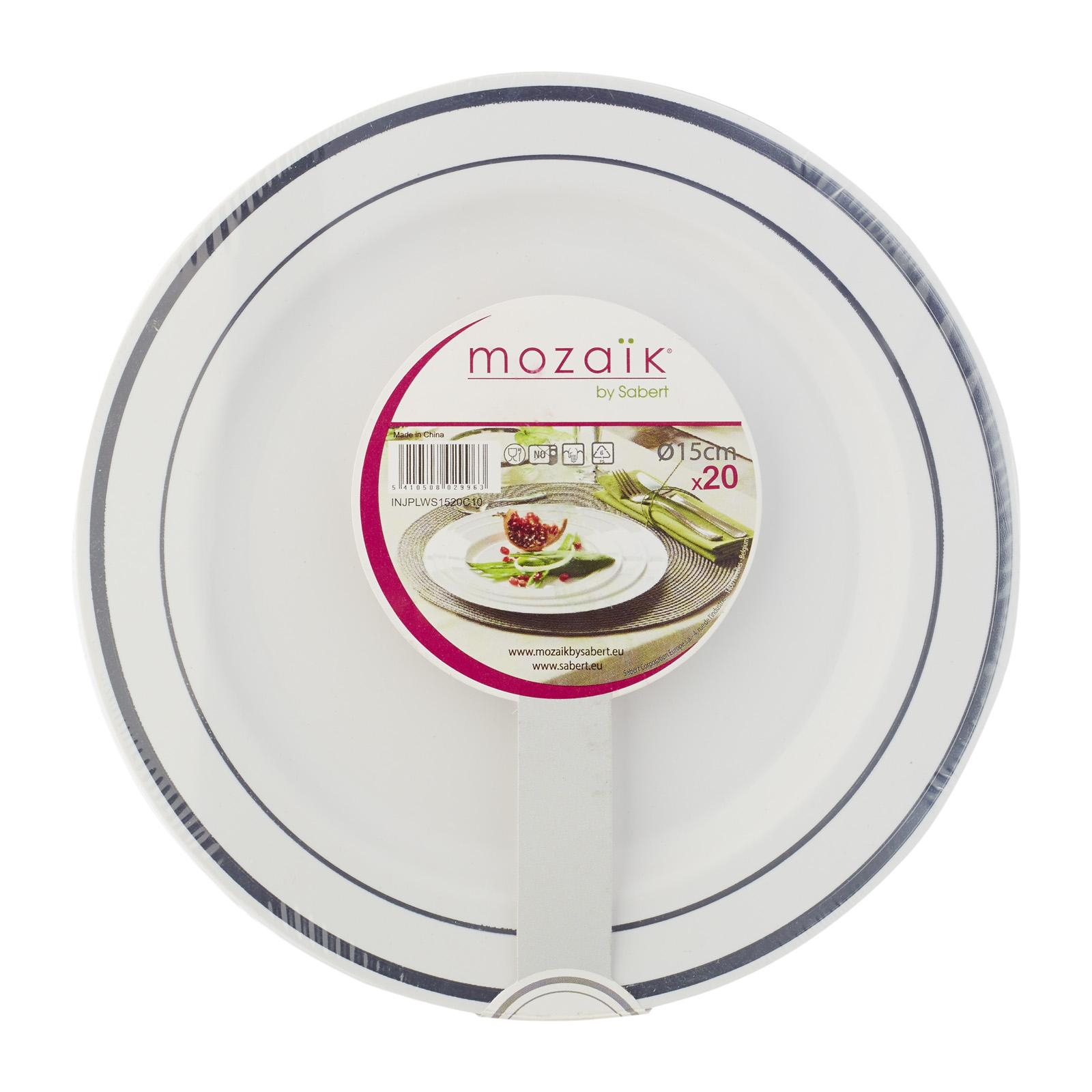 Mozaik White 6 Inches Plastic Plates with Silver Rim