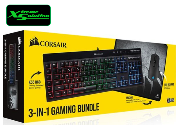 Corsair 3 in 1 Gaming Bundlle (K55+M55 RGB+MM300) Singapore