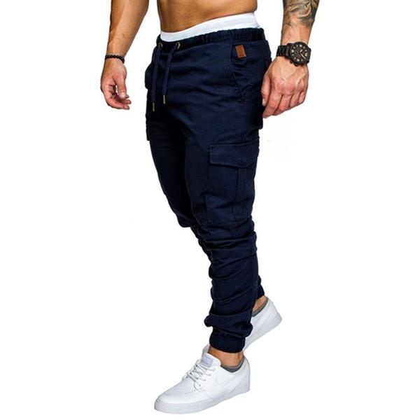 Mens Multi-Pocket Cargo Pants Elastic Waist Hip Hop Jogging Fitness Pants Solid Color Casual Trousers,dark Blue M-4xl By Yomichew.