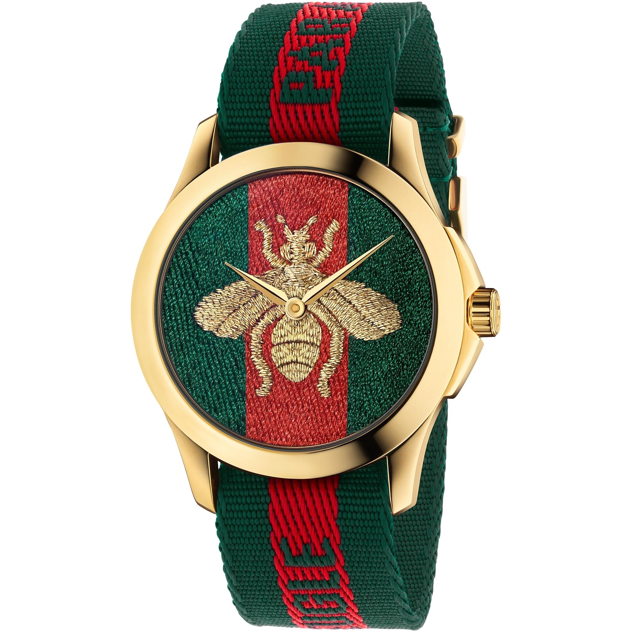 Gucci Ya126487 Swiss Le Marche Des Merveilles Green & Red Striped Nylon Watch By Watchessg.