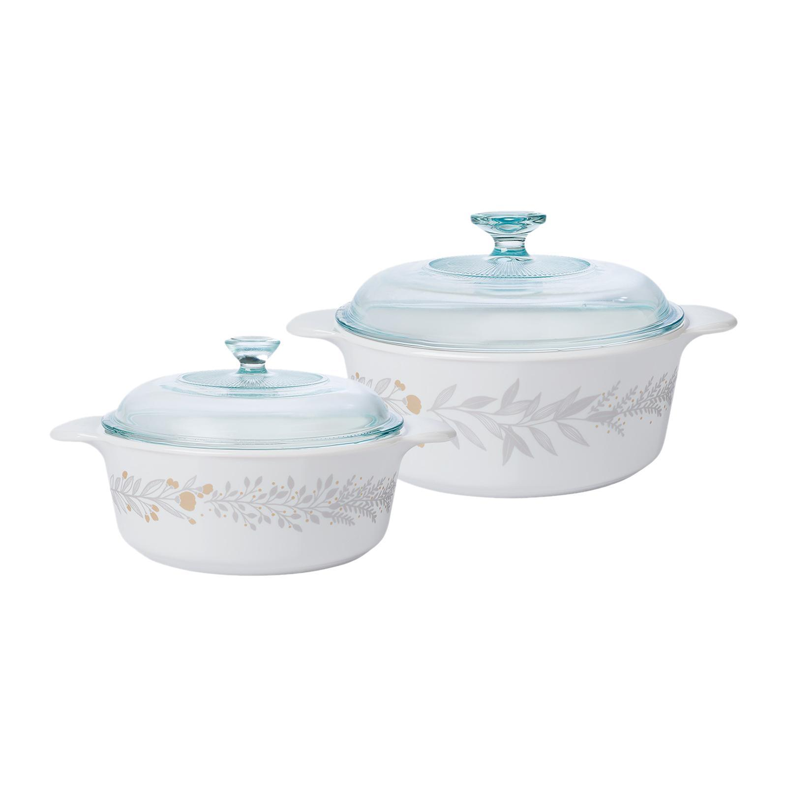Corningware 4 PCS Round Casserole Set (Design: Silver Crown)