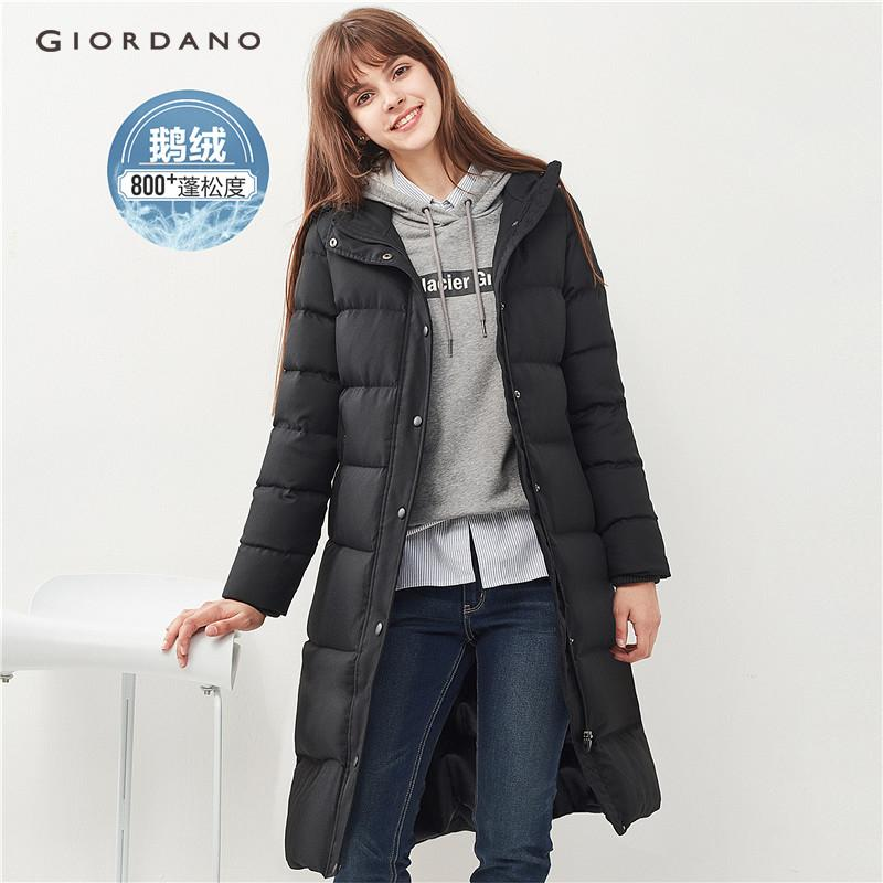 Giordano Women Mid-Long Hooded Grey Goose Down Jacket [free Shipping] 05378712 By Giordano Official.