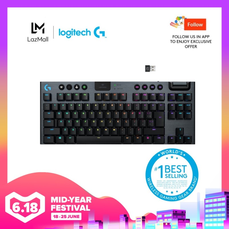 Logitech G915 TKL Tenkeyless Lightspeed Wireless RGB Mechanical Gaming Keyboard (Pre-Order) - Ship on 15th June Singapore