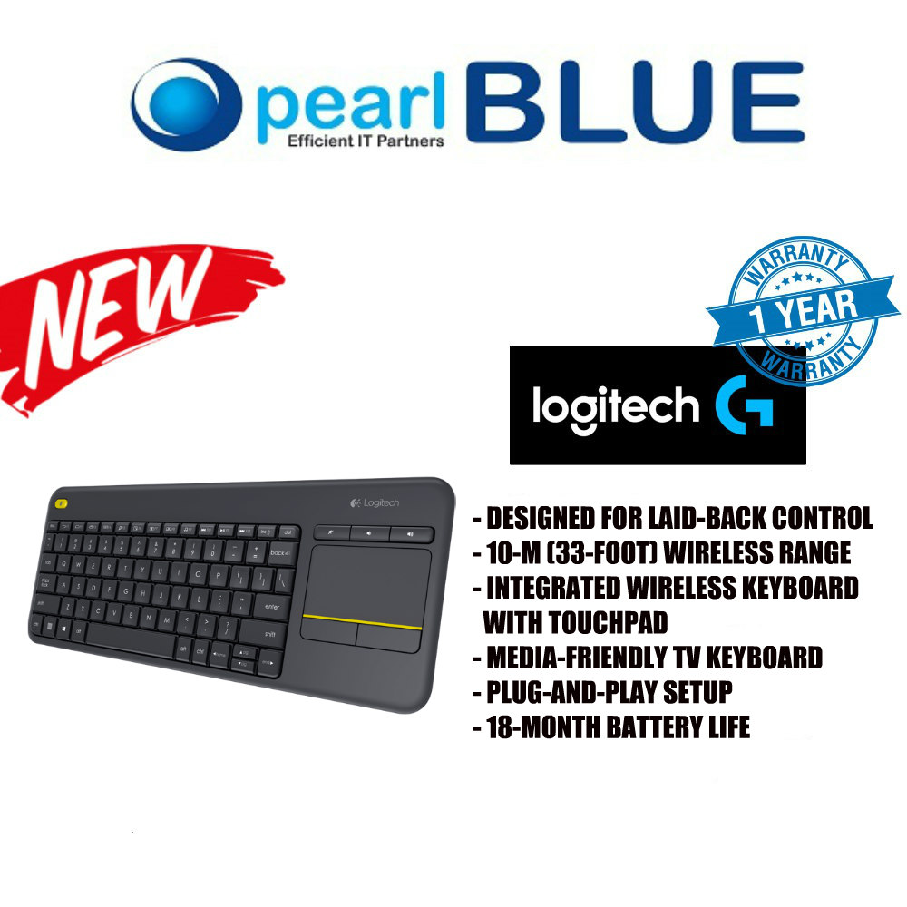 LOGITECH WIRELESS TOUCH KEYBOARD K400 PLUS HTPC Keyboard for PC connected TVs Singapore