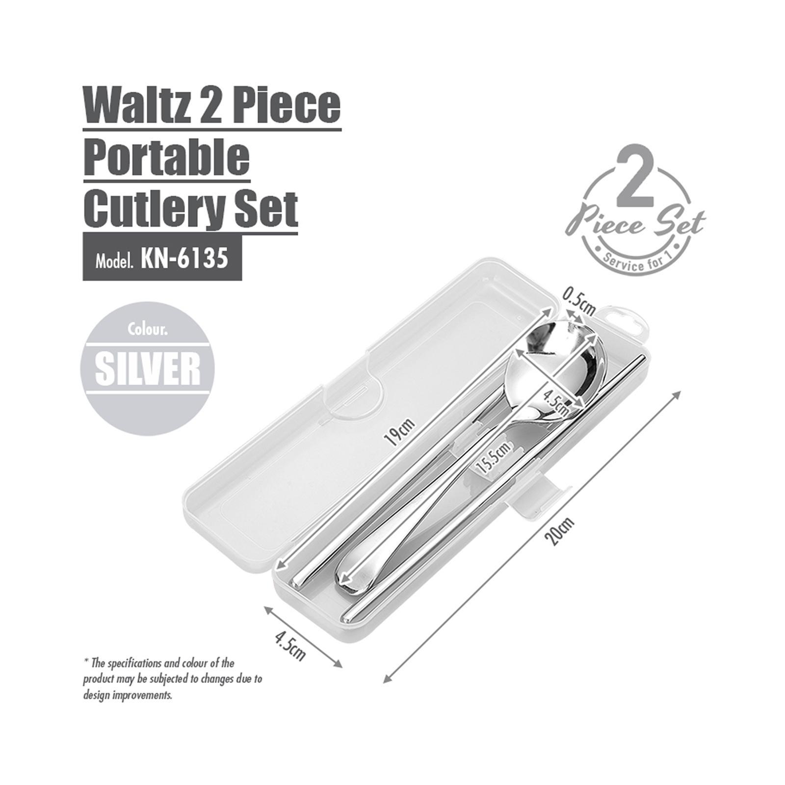 HOUZE Waltz 2 Piece Portable Cutlery Set - Silver