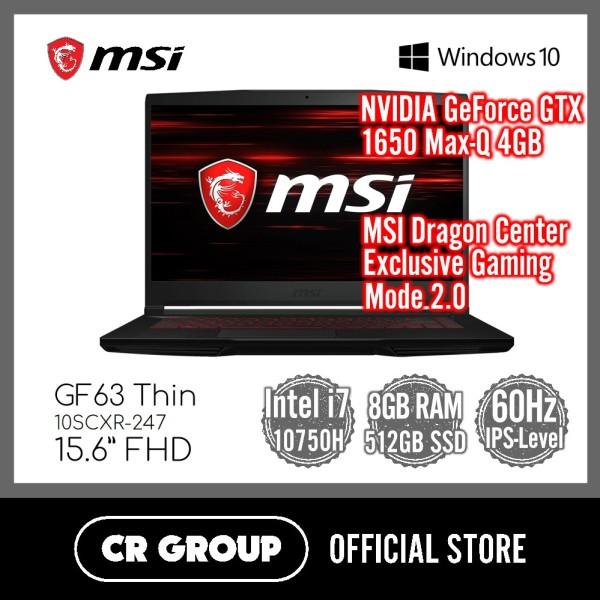 MSI GF63 Thin 10SCXR-247 15.6 Inch FHD | Intel® Core™ i7-10750H | NVIDIA GTX1650 Max-Q 4GB DDR5 | 8GB DDR4 RAM | 512GB PCle SSD | IPS-Level 60Hz Thin Bezel