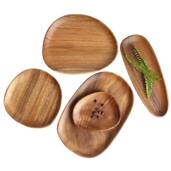 Wooden Two Tier Fruit Plate Multi-Layer Snack Candy Cake Plate Creative Round Home Decoration