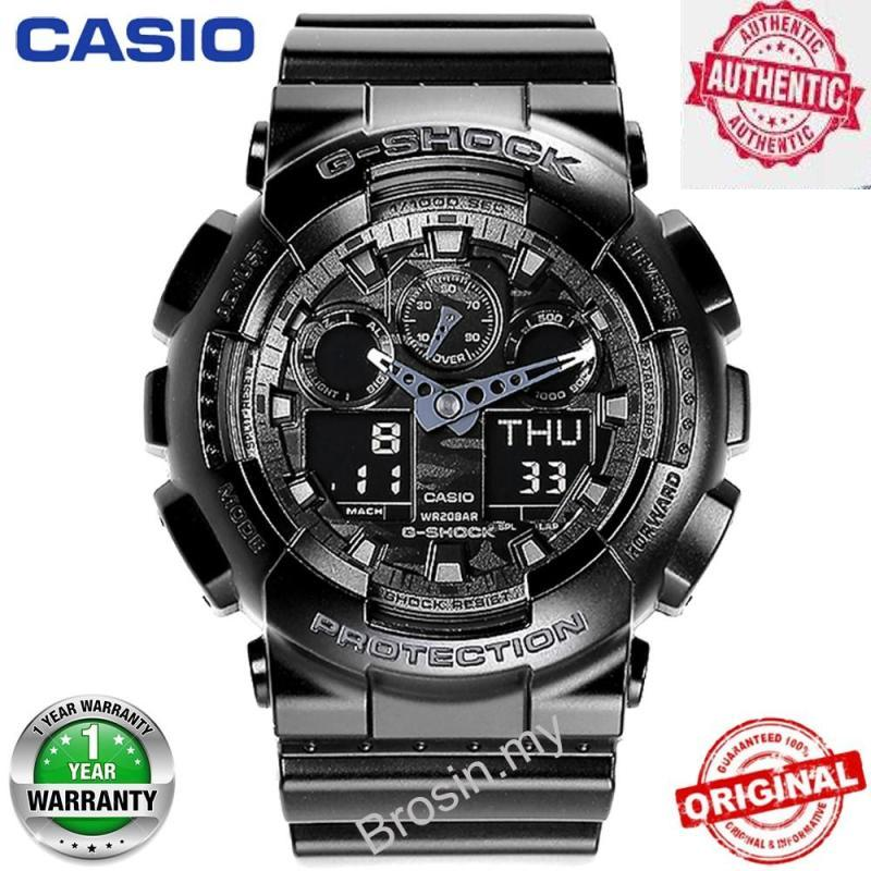 Original G Shock GA-100CF-1A Men Digital Sport Watch 200M Waterproof and Shockproof World Time LED Auto Light Wrist Digital Sports Watch with 2 Year Warranty GA110/GA-110 Malaysia