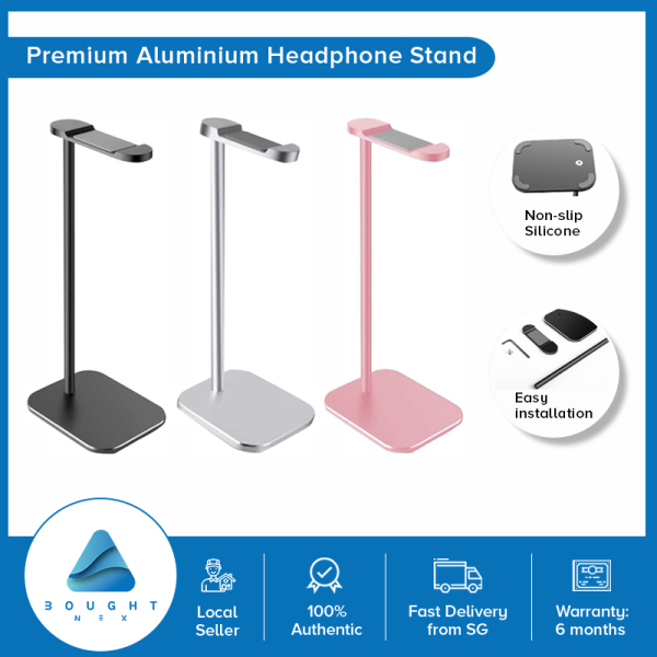 Headphone Stand Premium Aluminum Scratch-Free Padding AirPods Gaming Headset Mount Desktop Holder Silver Black Rose Gold Singapore
