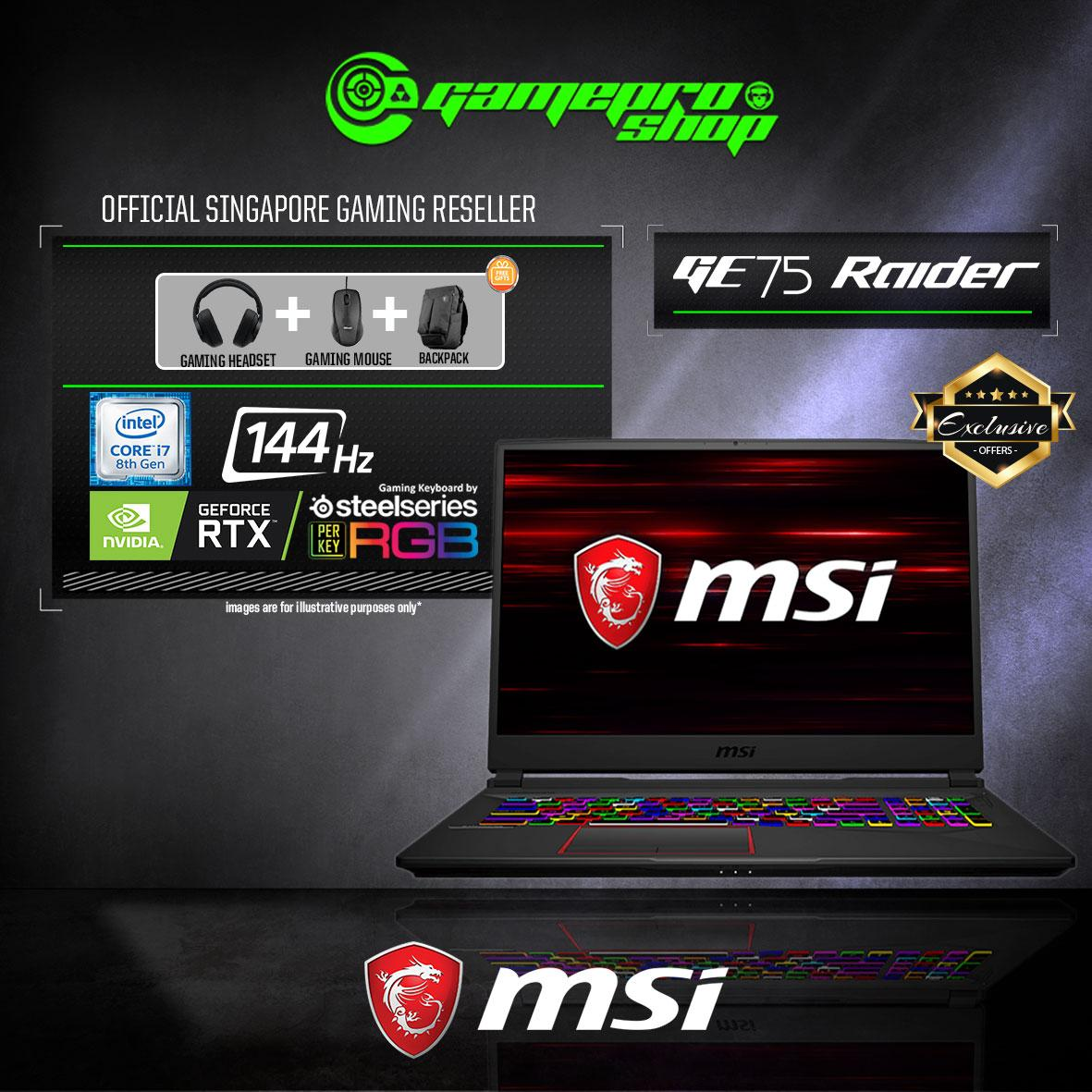 9th Gen MSI GE75 RTX2070 RAIDER 9SF - 649SG EXCLUSIVE (i7-9750H / 16GB / 1TB SSD /WIN 10) 17.3 with 144Hz GAMING LAPTOP *NDP PROMO*