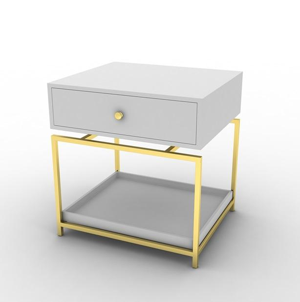 Modern Elegant Bedside Table (White)