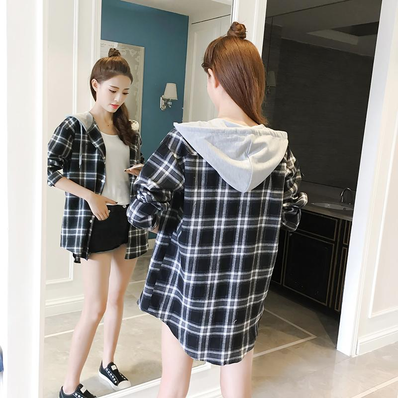 e44e327093a 2018 Spring And Autumn New Style Korean Style Leisure BF Students Shirt  Light Jacket Mid-