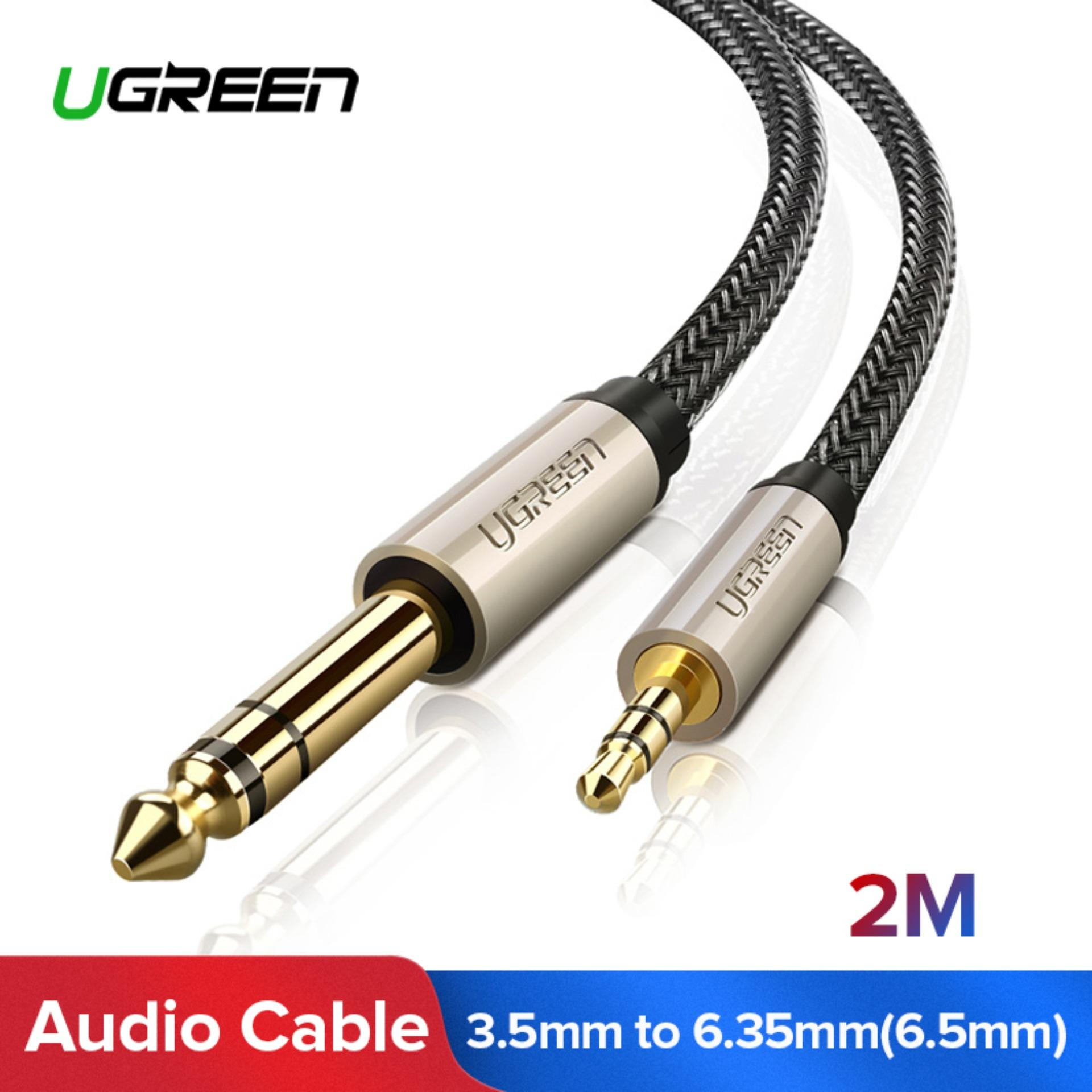 UGREEN 2M 3.5mm to 6.35mm Adapter Aux Cable for Mixer Amplifier CD Player Speaker Gold Plated 3.5 Jack to 6.5 Jack Male Audio Cable-Black