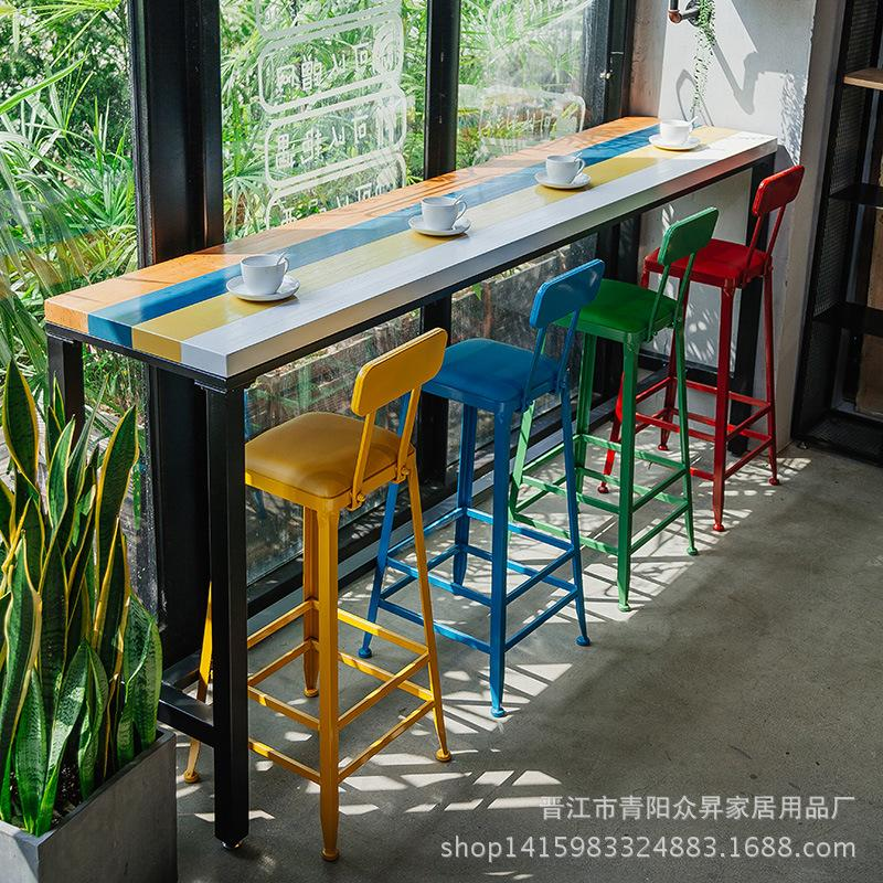 Color Solid Wood Bar Counter Table Home against the Wall Occasional Table Milk Tea Cafe Bar Counter Tables And Chairs Iron Art High Base Long Table