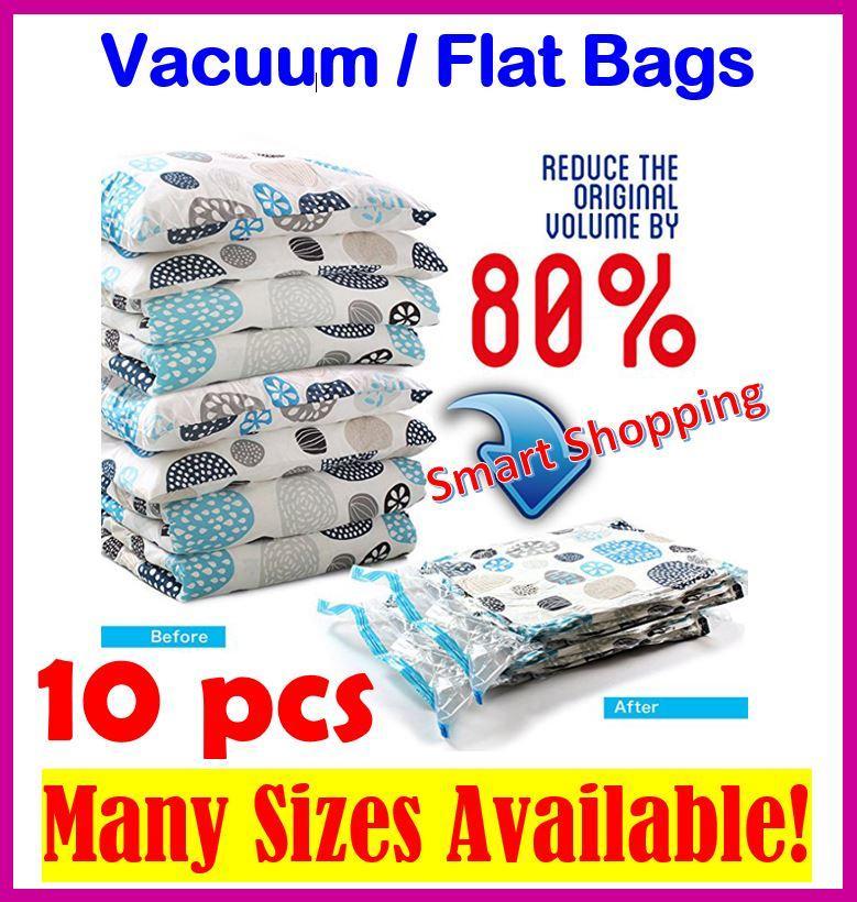[SG Stock] 10 Bags Vacuum Compression Storage Bag Zip Lock Transparent Space Savers Travel waterproof