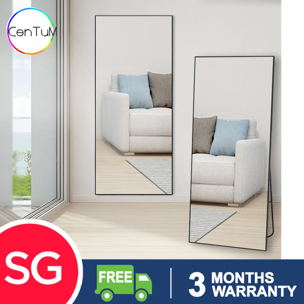 Standing Aluminium Frame Mirror Modern Minimalist Classy Tall Mirror Wall Mount Full Height Full Length Movable Clean Wide Clear Man Woman Girl Lady Dressing Home Usage HDB Condo Landed Retail Black Silver Gold Stable wardrobe [Delivery within 7 Days]