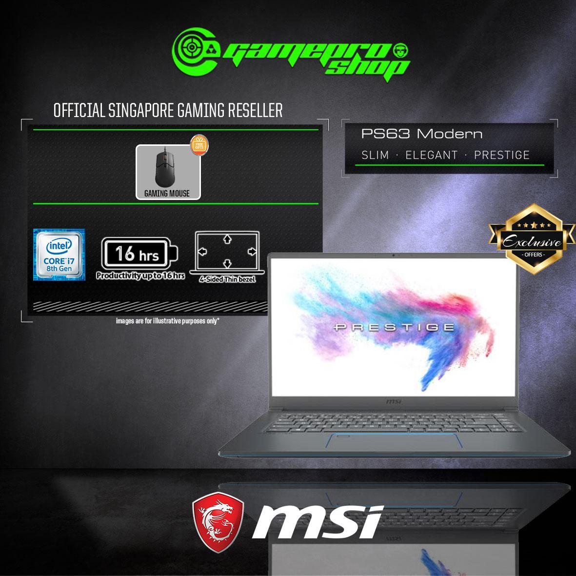 MSI PS63 GTX1650 8SC – 053SG EXCLUSIVE (i7-8565U / 16GB / 512GB SSD / WIN 10) 15.6 FHD GAMING LAPTOP *GSS PROMO*