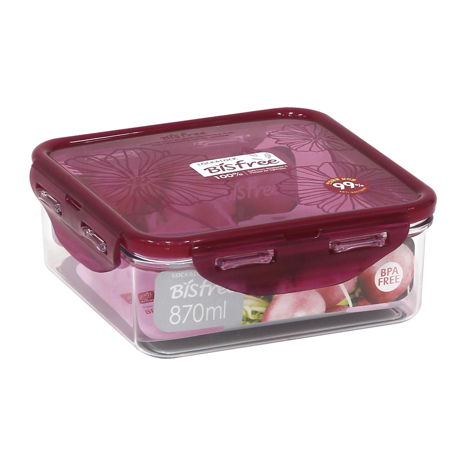 Lock and Lock Bisfree Food Container Square Red