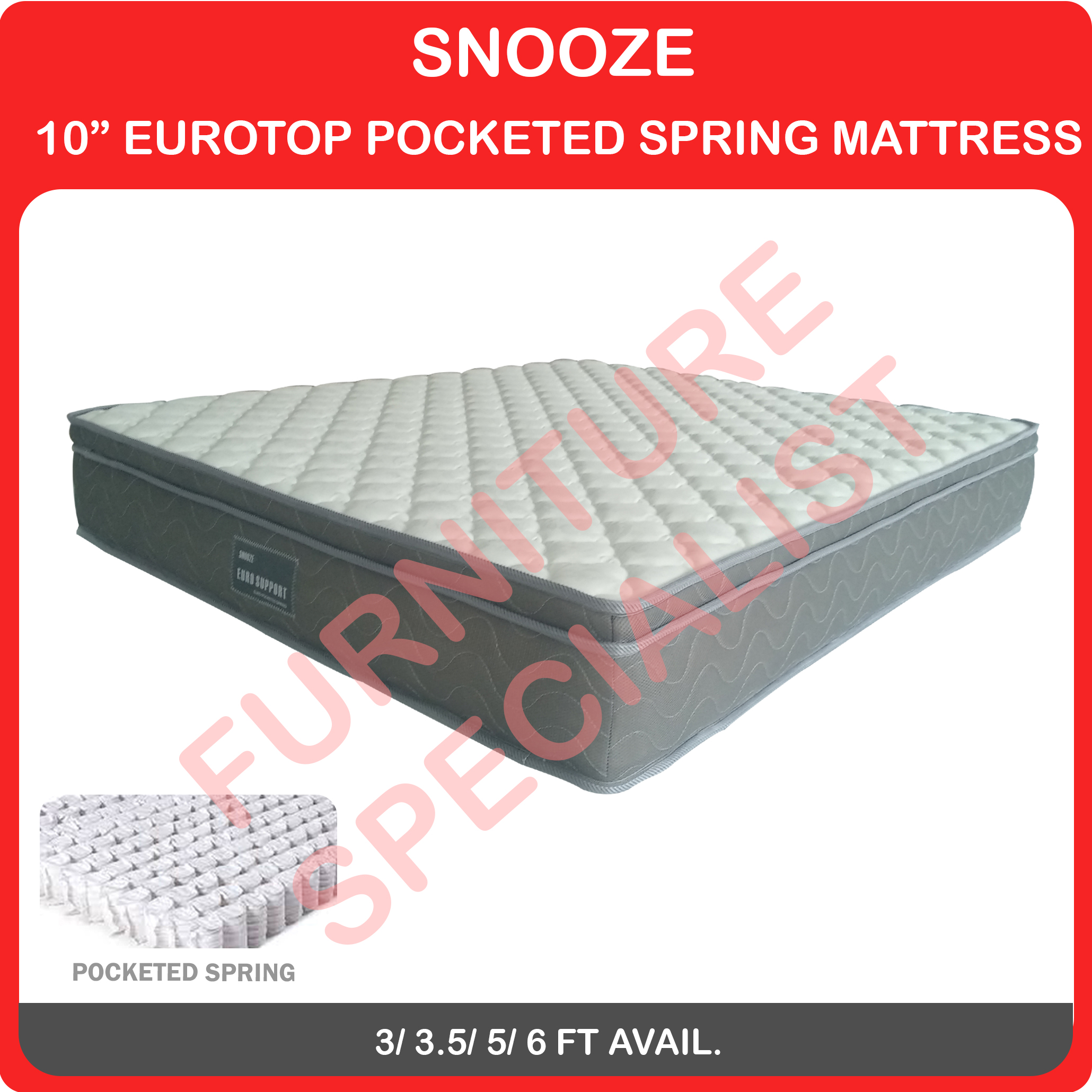 Snooze Eurotop Pocketed Spring Mattress