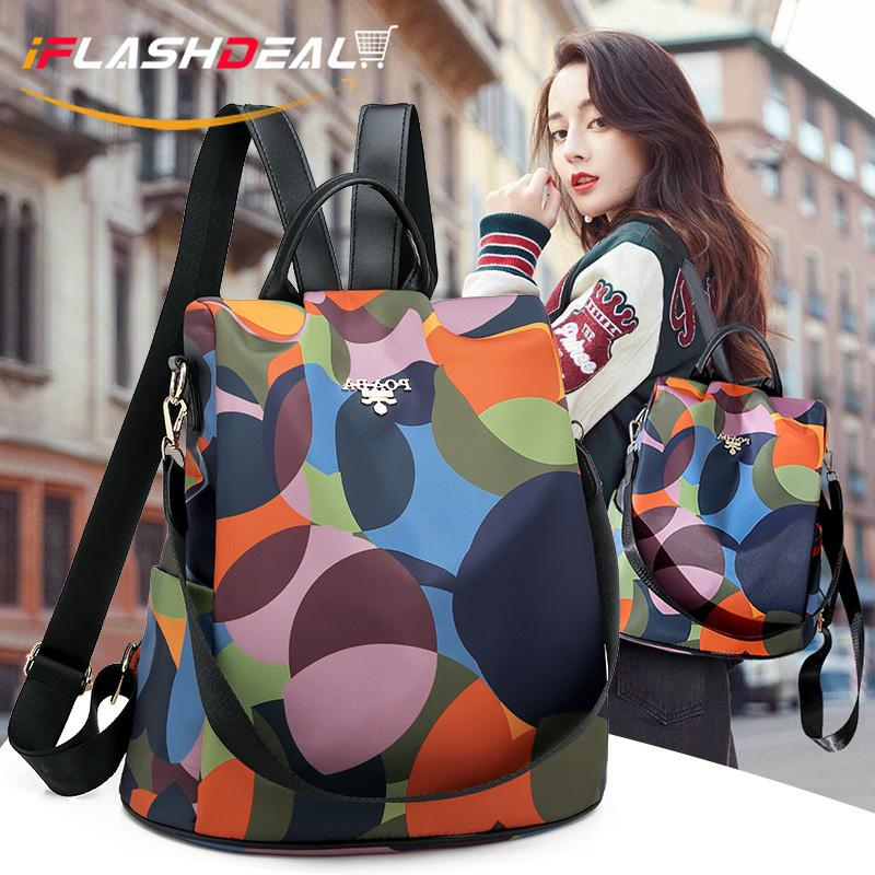 iFlashDeal Woman Bags Anti-theft Backpack Shoulder Bag Oxford Cloth Travel Backpack Fashion Color Painting Cross Body Bag Sling Bag Casual Pack Waterproof School Bag for Women Lady
