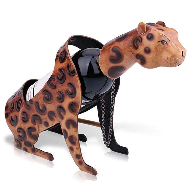 Leopard Wine Rack Metal Figurine Wine Shelf Art Home Interior Crafts Figurine Decoration Accessories Decals For Home