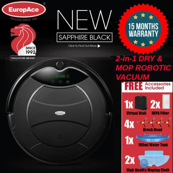 EuropAce ERV3031T Robotic Vacuum Cleaner (Wet and Dry) SAPPHIRE BLACK Singapore