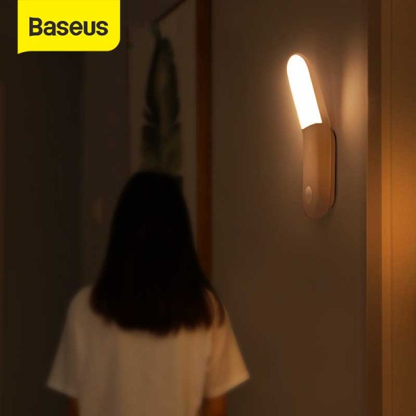 Baseus PIR Intelligent LED Induction Home BedRoom Night Light Human Boday  Induction Aisle Light USB Charging  Light