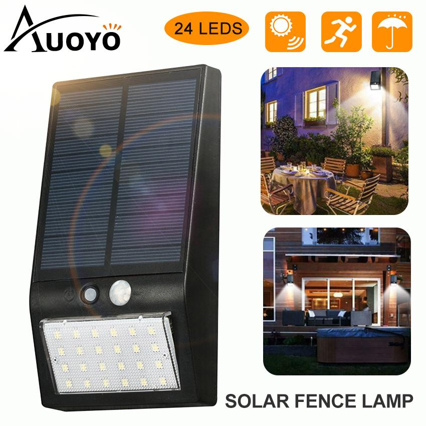 Auoyo 24 LEDs Solar Lights Outdoor Lighting Solar Fence Lights IP65 Waterproof Outdoor Deck Post Solar Light for Security Outdoor Night Light Auto on/Off Backyard Wall Mount Light