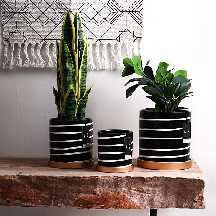 Monochrome Print Design Ceramic Made Flower / Plant Pot / Planter