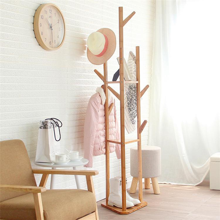 Creative Wood Floor Standing Coat/Hat Rack, Solid Wood in Pine Finish, triangle Hook Coat Rack-intl