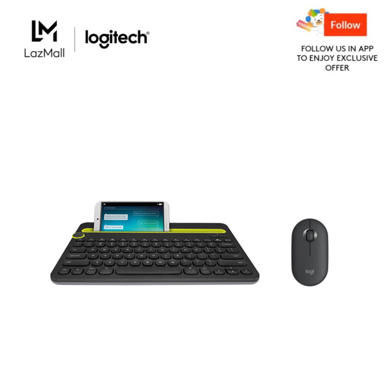 Logitech K480 White Bluetooth Multi-Device Keyboard (iOS, Android, OSX, iPhone) + Logitech Pebble M350 Wireless Mouse with Bluetooth or USB - Silent, Slim Computer Mouse with Quiet Click for Laptop, Notebook, PC and Mac Singapore