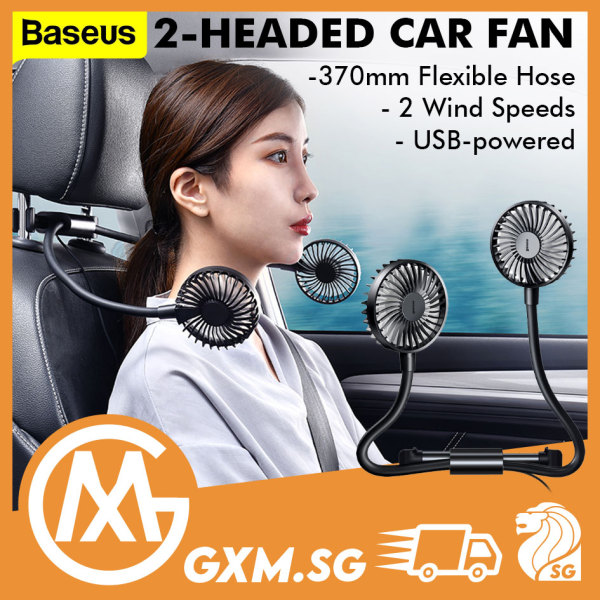 Baseus Blustery Car Two-Headed Vehicle Fan Spring-Mounted 1.5M USB Powered Flexible Hose 360° Adjustment for Car