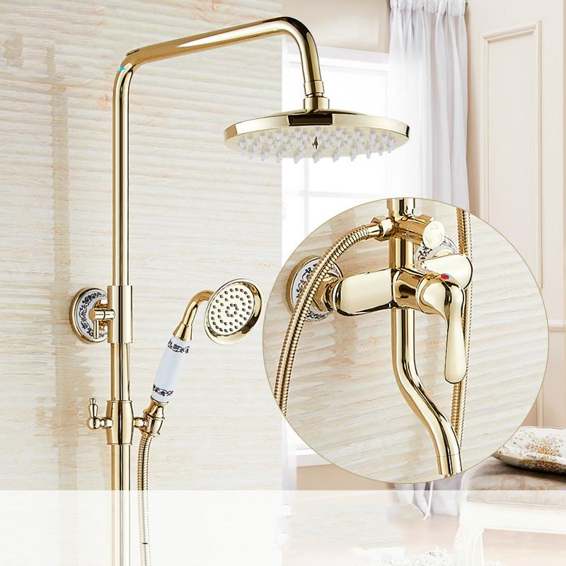 European Style Shower Full Brass Shower Sets Blue And White Porcelain Bathroom Shower 360 Degrees Flexible Rotation Hot And Cold Faucet Shower By Manna-C.