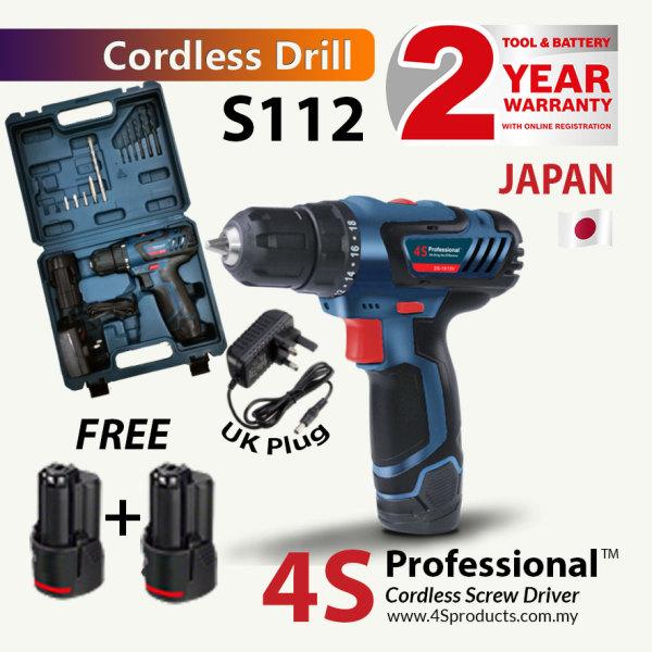 4S Professional™ S112 Cordless Screw Driver Drill 12V + 2 Batteries + 13PCS Bits Set